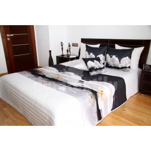 Biele prehozy na posteľ s motívom orchideí
