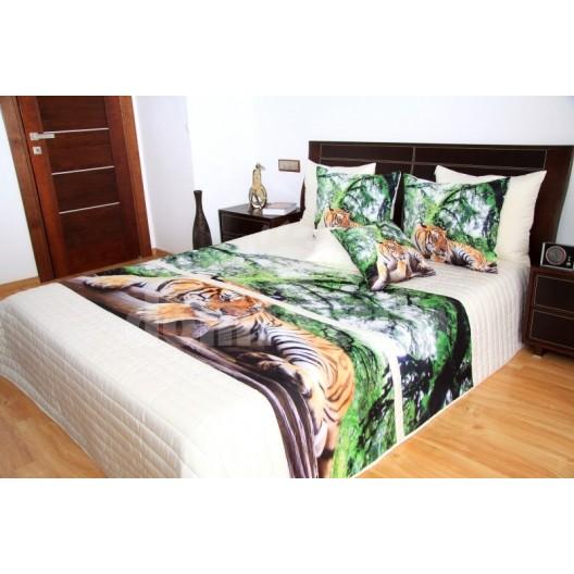 Zeleno smotanový prehoz na posteľ s motívom tigra