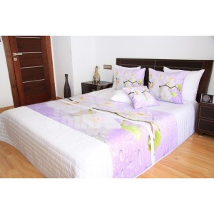 Bielo ružové prehozy na posteľ s orchideami