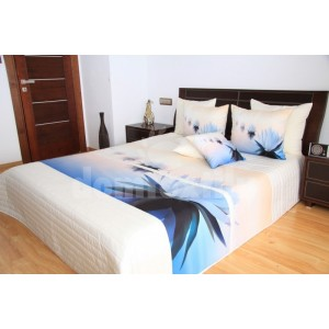 Modro krémový prehoz na posteľ s leknami