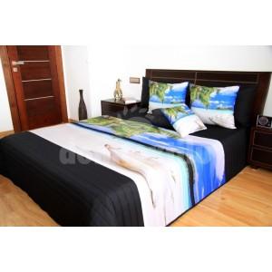 Béžovo čierne prehozy na posteľ s motívom pláže