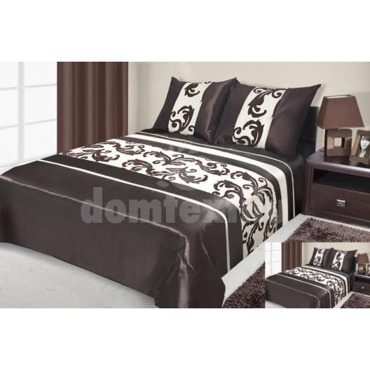 Hnedý prehoz na posteľ s abstraktnými vzormi