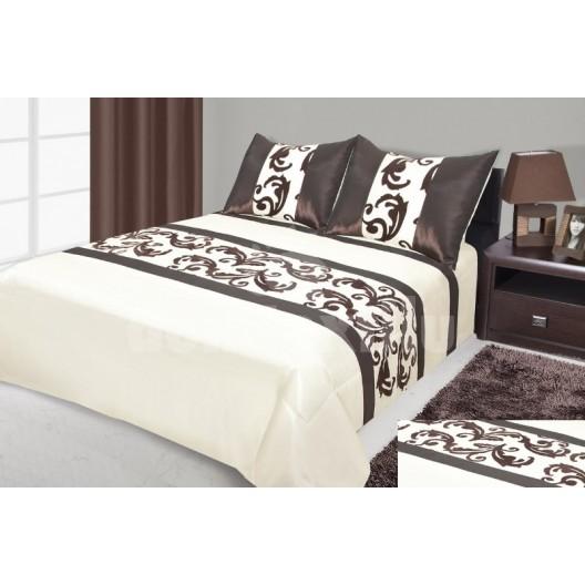 Krémový prehoz na posteľ s hnedými vzormi