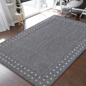 Luxusný obojstraný sivý koberec s ozdobným okrajom