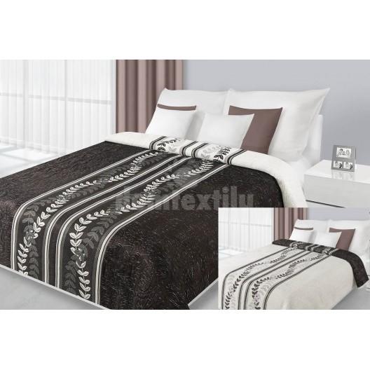 Prehozy na posteľ sivo bielej farby s lístočkami