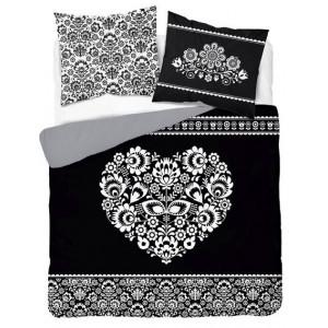 Čiernobiele bavlnené posteľné obliečky s folklórnym motívom