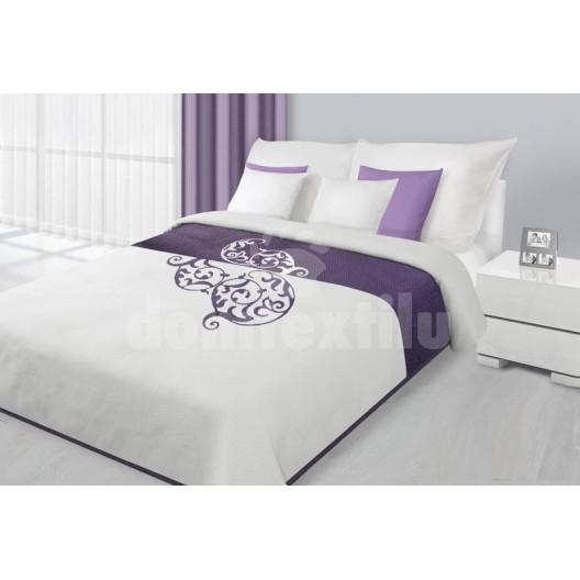 Prehozy na posteľ bielo fialovej farby s motívom