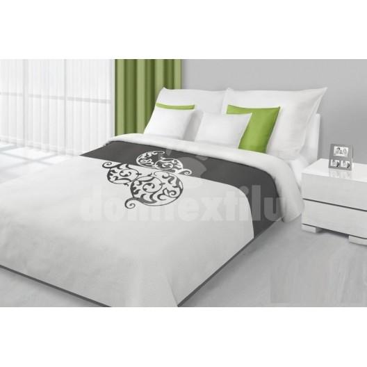 Prehozy na posteľ bielo sivej farby s motívom