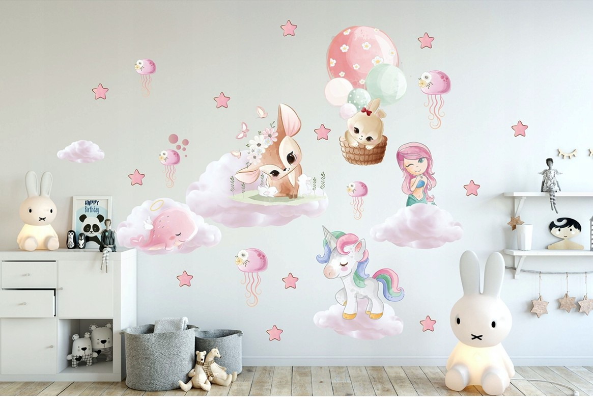 Fantasy detská nálepka na stenu pre dievčatká s rozprávkovými postavičkami 80 x 160 cm