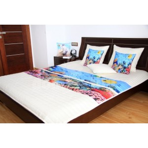 Modro krémové prehozy na detské postele s potlačou morského dna