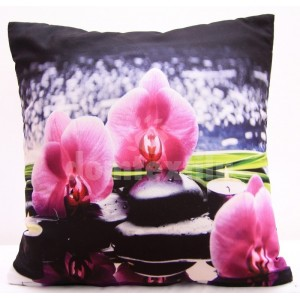 Čierne obliečky na vankúš s ružovými orchideami