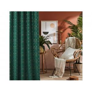 Elegantný záves so zlatým zdobením v tmavo zelenej farbe 140 x 260 cm so zavesením na riasiacu pásku