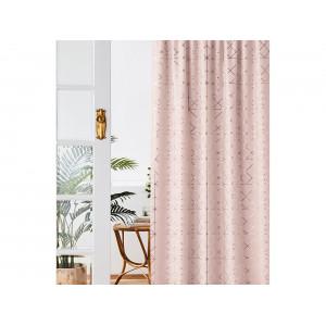 Fenomenálny záves na riasiacu pásku 140 x 260 cm v modernej pudrovo ružovej farbe so zlatým detailom