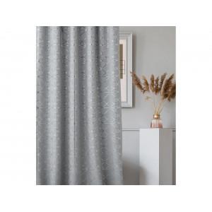 Brilantný sivý záves na riasiacu pásku 140 x 200 cm so strieborným geometrickým vzorom