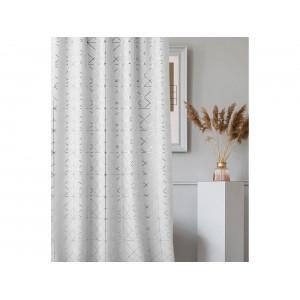 Nádherný záves v elegantnej bielej farbe v kombinácií so strieborným vzorom 140 x 260 cm so zavesením na riasiacu pásku