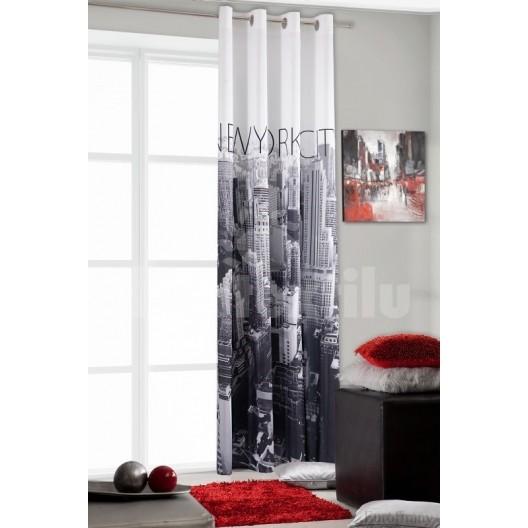 Dekoračný záves bielo čiernej farby s motívom mesta New York