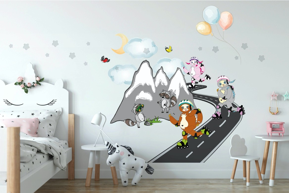 Veselá detská nálepka na stenu korčuliari na horách