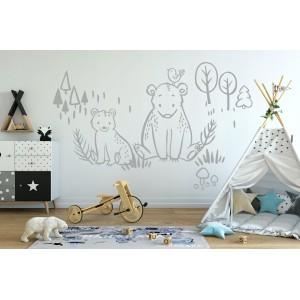 Jednofarebá sivá nálepka do detskej izby so zvieratkami