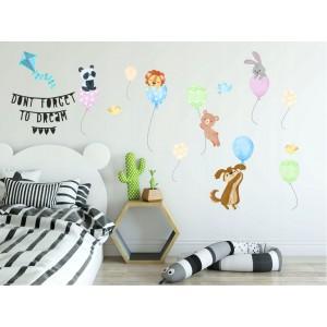 Veselá nálepka do detskej izby zvieratká na balónoch
