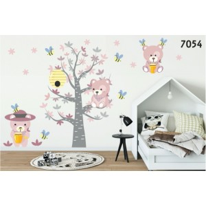 Krásna detská nálepka na stenu ružové medvedíky a včielky