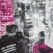 Fialovo sivý hotový záves s motívom mrakodrapov New York