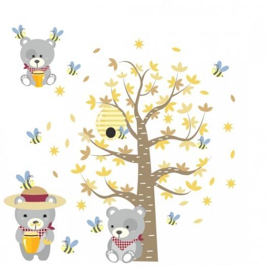Roztomilá veľká detská nálepka na stenu medvede s medom