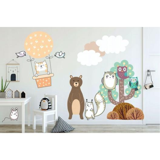 Roztomilá veľká nálepka na stenu do detskej izby lietajúca mačička
