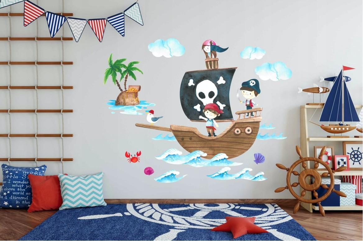 Originálna detská nálepka na stenu námorníci