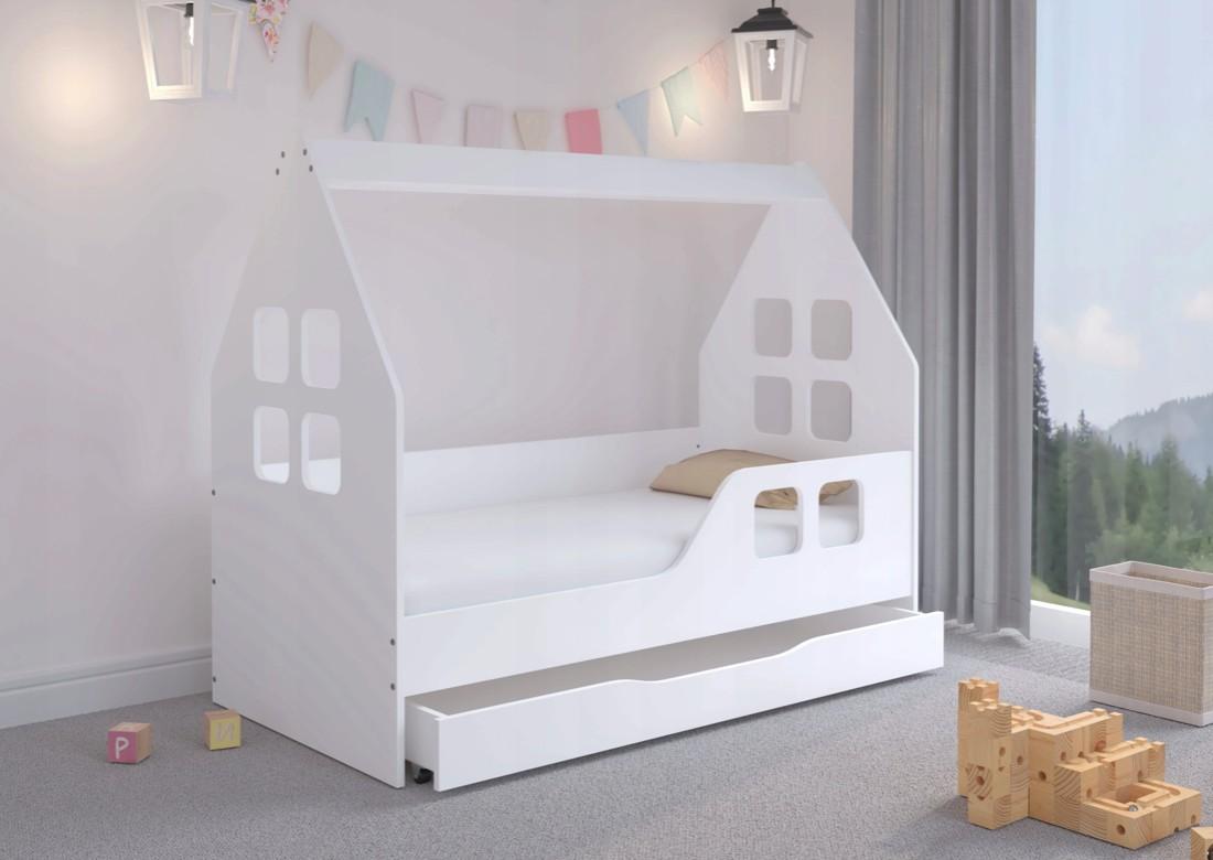 DomTextilu Očrujúca detská posteľ su šuflíkom 140 x 70 cm bielej farby v tvare domčeka Biela 46414