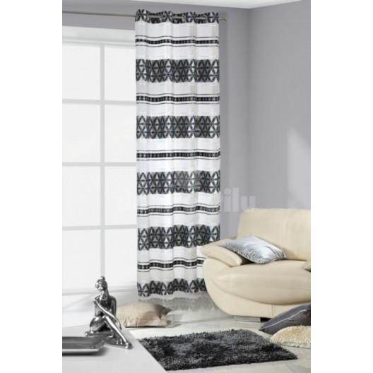 Bielo sivý záves na okno s čiernymi vzormi