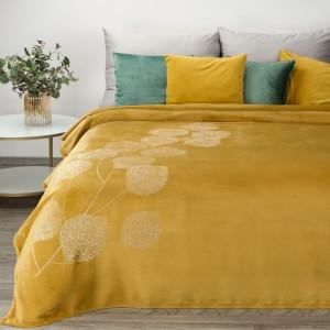 Medovo žltá teplá deka so zlatým vzorom lístia 150 x 200 cm