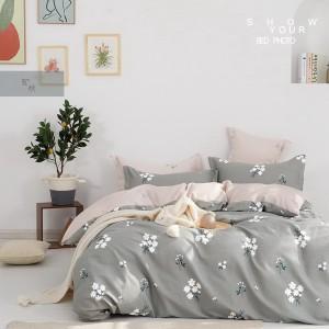 Krásne sivé posteľné obliečky so 100% bavlny s motívom kvetov