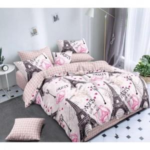 Svetloružové posteľné obliečky s motívom mesta  Paríž