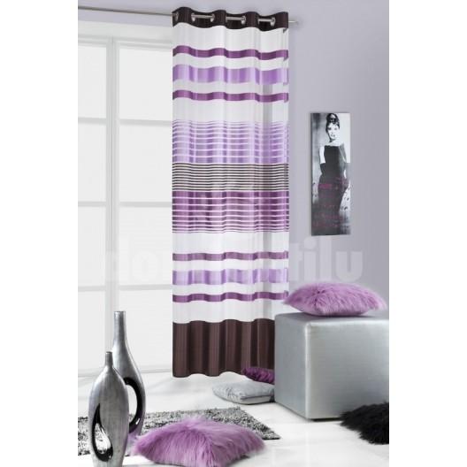 Záves fialovo bielej farby s pruhovaným motívom