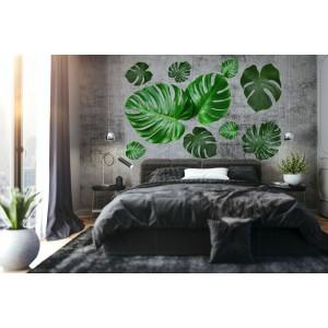 Dekoračná nálepka na stenu s motívom listov