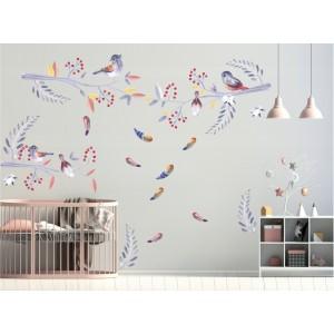 Roztomilá nálepka na stenu do detskej izby vtáčiky a halúzky