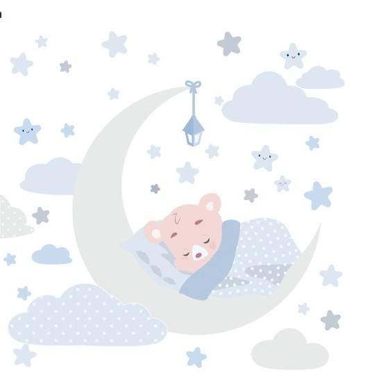 Pekná nálepka na stenu spiaci medvedík