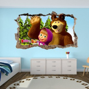 Nálepka na stenu Máša a medveď 47x28cm SKLADOM