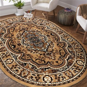 Oválny vintage koberec hnedej farby