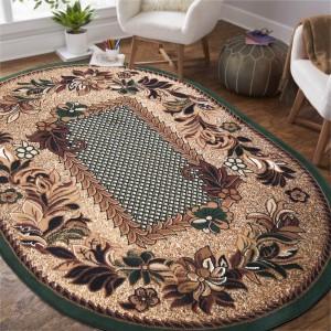 Oválny vintage koberec zelenej farby