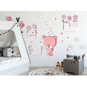 Kvalitná ružová nálepka na stenu zamyslený medvedík