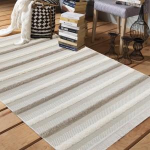 Nadčasový koberec v škandinávskom štýle v béžovej farbe
