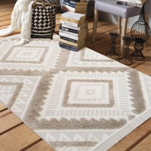 Originálny béžový koberec v škandinávskom štýle