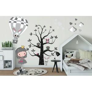 Rozkošná nálepka na stenu princezná Zoe a zvieratká 100 x 200 cm