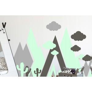 Krásna mentolo sivá nálepka na stenu abstraktné hory 100 x 200 cm