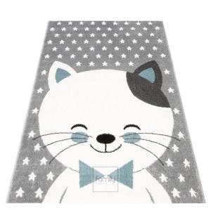 Sivý koberec do detskej izby pre chlapcov kocúrik Murko