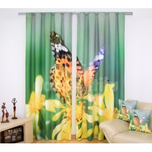 Zelené závesy na okná so žltými kvetmi a farebným motýľom 160x250 cm SKLADOM