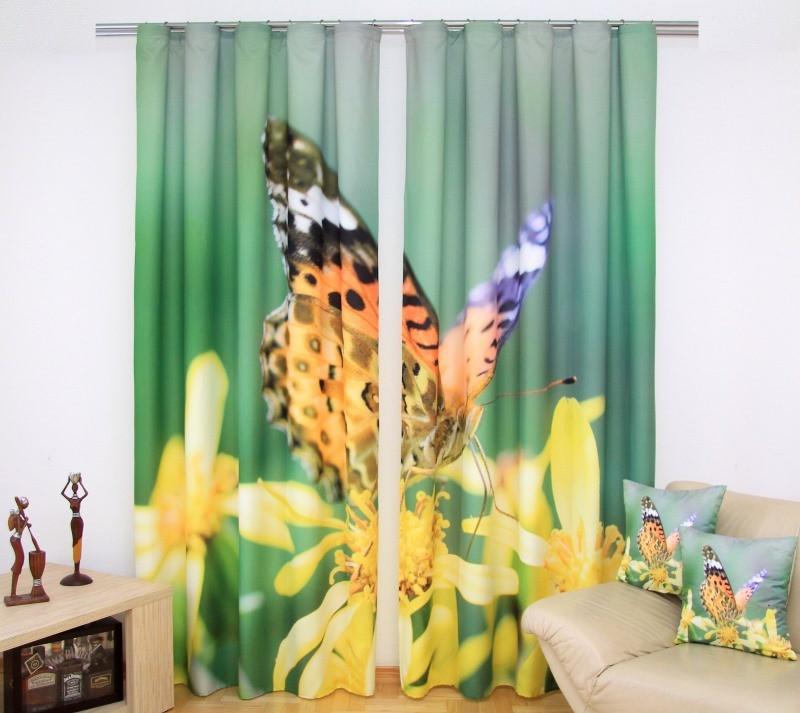 Zelené závesy na okná so žltými kvetmi a farebným motýľom 160x250 cm