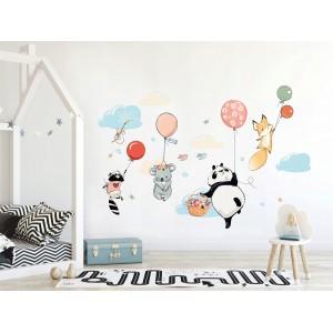 Detská nálepka na stenu s veselým motívom lietajúcich zvieratiek