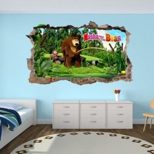 Úžasná detská nálepka na stenu Máša a medveď na rybačke